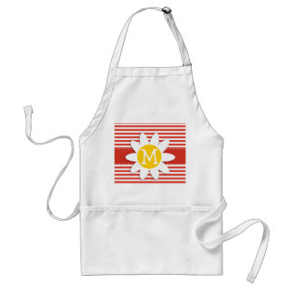 Cinnabar Color Horizontal Stripes; Striped; Daisy Adult Apron