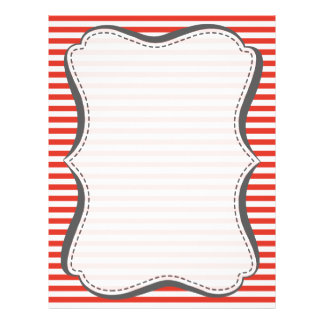 Cinnabar Color Horizontal Stripes; Striped Letterhead