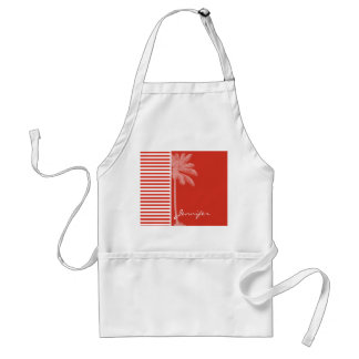 Cinnabar Color Horizontal Stripes; Striped; Palm Adult Apron