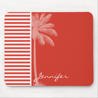 Cinnabar Color Horizontal Stripes; Striped; Palm Mouse Pad