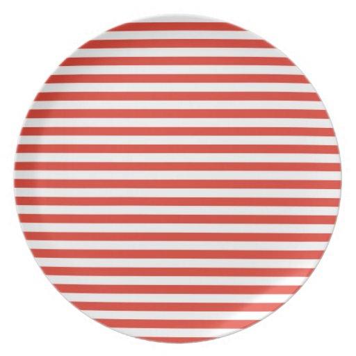 Cinnabar Color Horizontal Stripes; Striped Plate