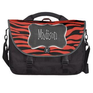 Cinnabar Color Zebra Stripes; Chalk look Bags For Laptop