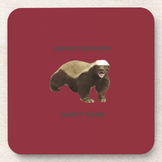 Cinnabar Red Honey Badger Don't Care Pattern Coaster