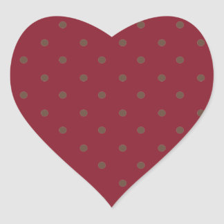 Cinnabar Red Maroon And Light Brown Polka Dots Heart Sticker
