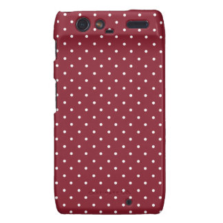 Cinnabar Red Maroon And Small White Polka Dots Droid RAZR Covers
