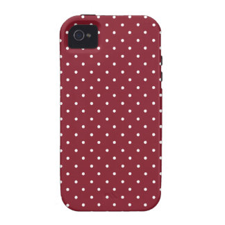 Cinnabar, Red, Maroon And Small White Polka Dots Case-Mate iPhone 4 Covers