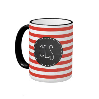 Cinnabar Stripes; Striped; Retro Chalkboard Ringer Coffee Mug