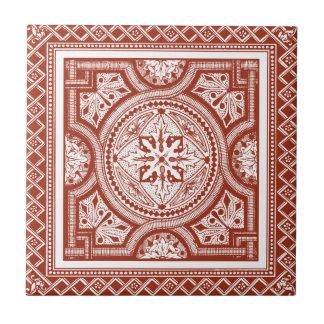 Cinnabar Woodblock IV Ceramic Tile