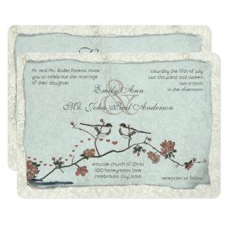 Cinnamon and Blue Love Bird Damask Wedding Invites