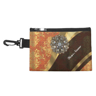 Cinnamon and pretty damask monogrammed accessory bag