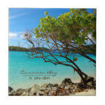 """Cinnamon Bay St. John USVI Tropical Tile Art<br><div class=""""desc"""">Beautiful tropical tile art featuring a lovely image of Cinnamon Bay,  on island of St. John U.S.V.I. Available in two sizes! For other great cards,  postcards,  jewelry and gift items with this wonderful image please visit our shop!</div>"""