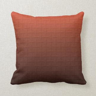 Cinnamon Brown Orange Gradient Basket Weave Design Pillow