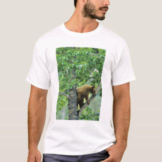 Cinnamon colored black bear in aspen tree in T-Shirt