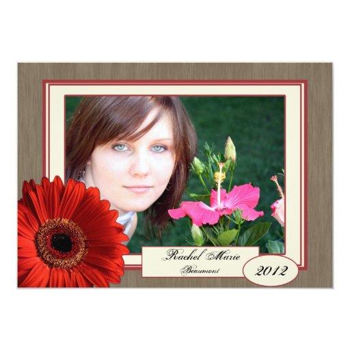 Cinnamon Cream Wood Daisy Photo Graduation Custom Announcement