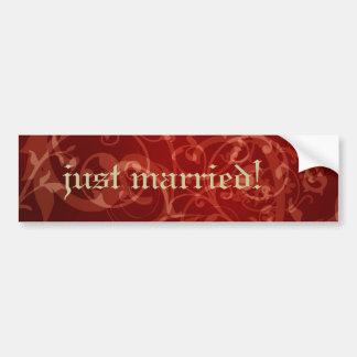 Cinnamon Damask Gothic Wedding Bumper Sticker