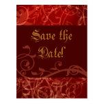 Cinnamon Damask Gothic Wedding Shower Invitation Postcard