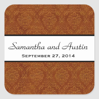 Cinnamon Damask Save the Date Wedding V04 Square Stickers