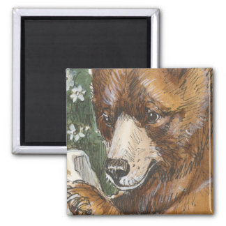 Cinnamon Grizzly Bear 2 Inch Square Magnet