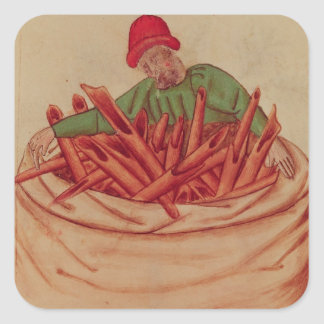 Cinnamon Merchant, from 'Tractatus de Herbis' Square Sticker