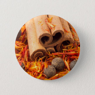 Cinnamon, peppercorn and saffron close-up pinback button