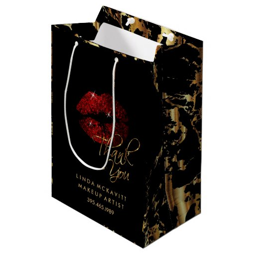 Cinnamon Red Glitter Lip & Gold Marble - Thank You Medium Gift Bag
