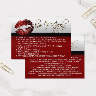 Cinnamon Red Glitter Lips - How to Apply Business Card