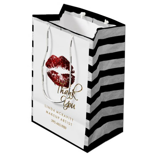 Cinnamon Red Glitter Lips & White Stripes Medium Gift Bag