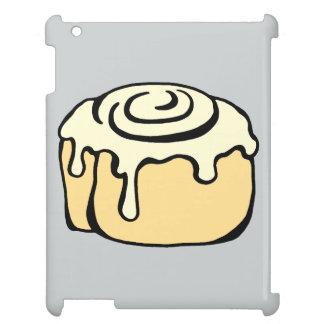 Cinnamon Roll Cartoon Design in Grey Funny Case For The iPad