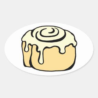 Cinnamon Roll Honey Bun Cartoon Design Cute Oval Sticker