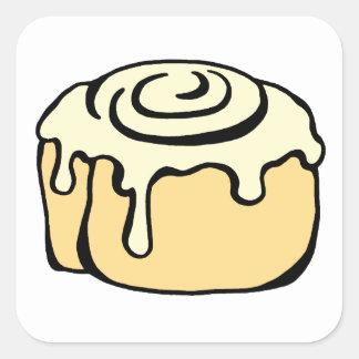 Cinnamon Roll Honey Bun Cartoon Design Cute Square Sticker