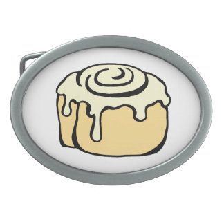 Cinnamon Roll Honey Bun Cartoon Design Funny Oval Belt Buckle