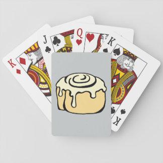 Cinnamon Roll Honey Bun Cartoon Design Grey Poker Cards