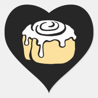 Cinnamon Roll Honey Bun Cartoon Design in Black Heart Sticker