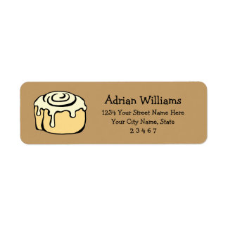 Cinnamon Roll Honey Bun Cartoon Personalized Label