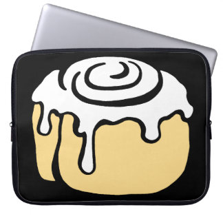 Cinnamon Roll Honey Bun Cute Cartoon Design Black Laptop Sleeve