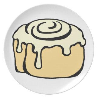 Cinnamon Roll Honey Bun Cute Cartoon Design Dinner Plate