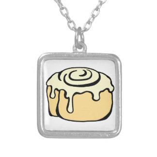 Cinnamon Roll Honey Bun Cute Cartoon Design Silver Plated Necklace