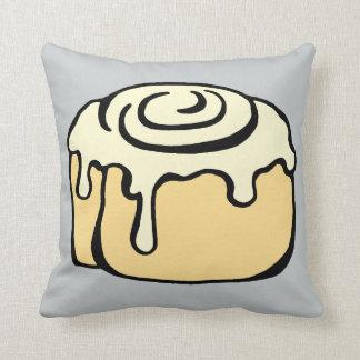 Cinnamon Roll Honey Bun Cute Funny Cartoon Grey Throw Pillow