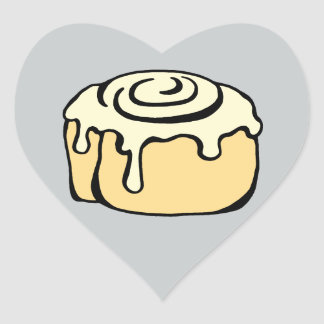 Cinnamon Roll Honey Bun Grey Cartoon Design Cute Heart Sticker