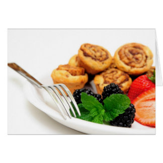 Cinnamon Rolls and Berries Greeting Cards