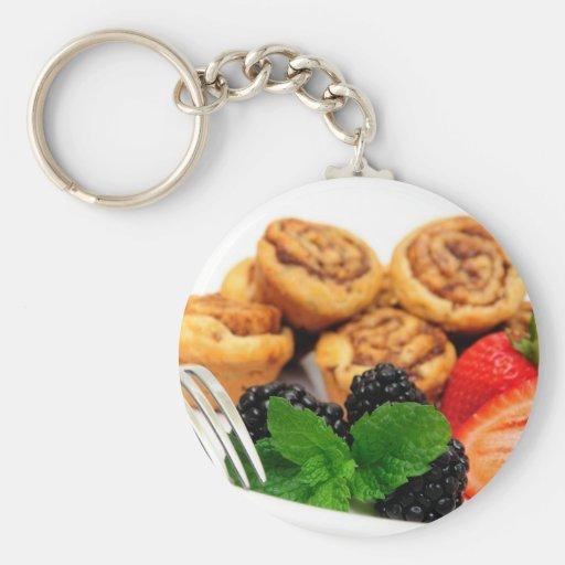 Cinnamon Rolls and Berries Key Chain