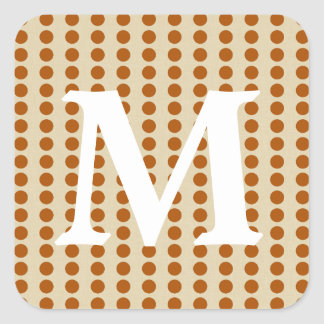 Cinnamon Spice Moods Dots with Monogram Initial Square Sticker