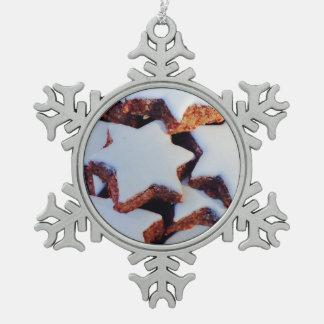 Cinnamon Star Cookies Snowflake Pewter Christmas Ornament