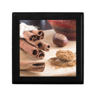 Cinnamon sticks and powder keepsake box