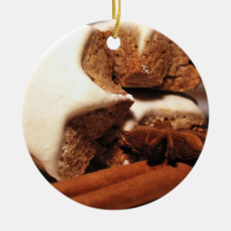 Cinnamon Sticks and Star Cookies Ceramic Ornament