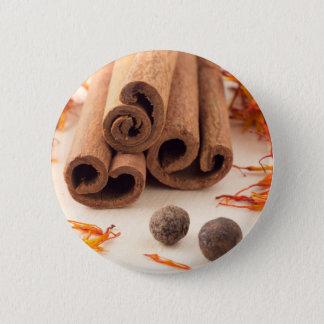 Cinnamon sticks, aromatic saffron and pimento button