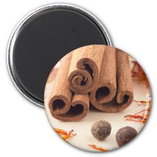 Cinnamon sticks, aromatic saffron and pimento magnet