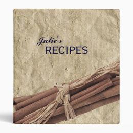 Cinnamon Sticks Crumpled Paper Personalized Recipe Binder