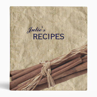Cinnamon Sticks Crumpled Paper Personalized Recipe 3 Ring Binder