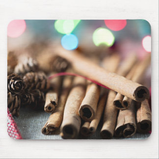 Cinnamon Sticks in Festive Setting Mouse Pad